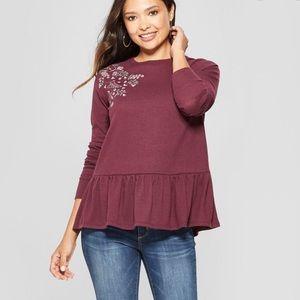 Knox Rose Burgundy Floral Peplum Sweater